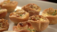 Caramelised shallot and gubeen tarts - One of the Blue Team's recipes from the Croke Park challenge
