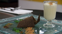 Carrageen Moss Pudding with Irish Coffee Sauce, Coffee Bean Tuile and Crumble Sand - Charlie Day's recipe for the National Dish challenge.