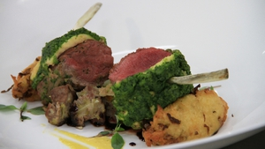 Herb Crusted Loin of Connemara Hill Lamb, Irish Stew, Celariac Puree and Colcannon Dauphine: MasterChef