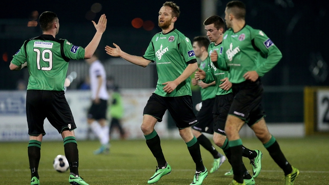 Bohs' Aidan Price (centre) celebrates scoring first-half equaliser