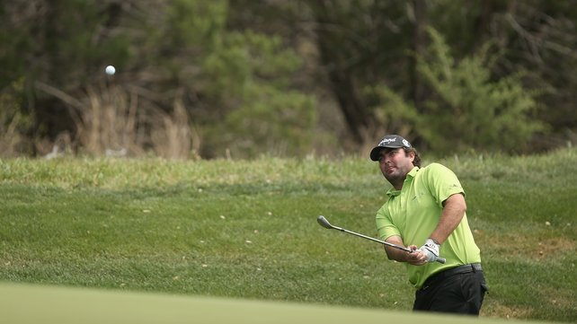 Steven Bowditch plays his shot on the ninth during round two of the Valero Texas Open