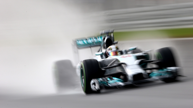 Lewis Hamilton in action during qualifying