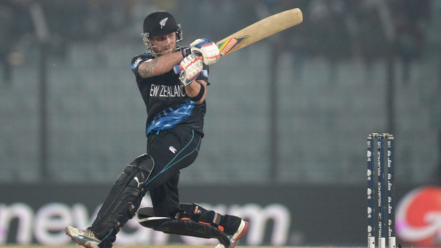 Brendon McCullum hits a six