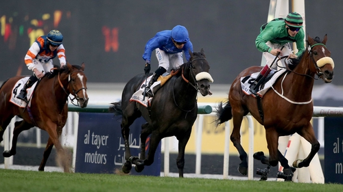 Certerach ridden by Jamie Spencer (black and green silks) wins the Dubai Gold Cup