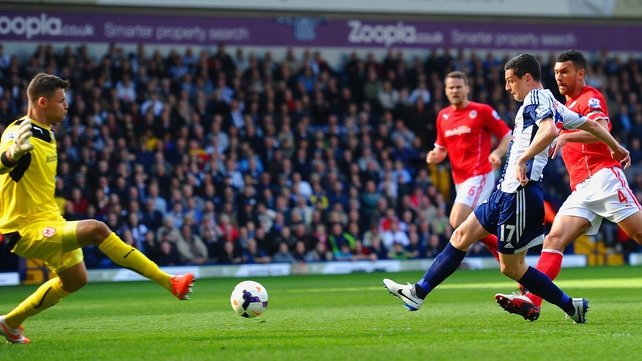 Graham Dorrans scores West Brom's second goal past Cardiff 'keeper David Marshall