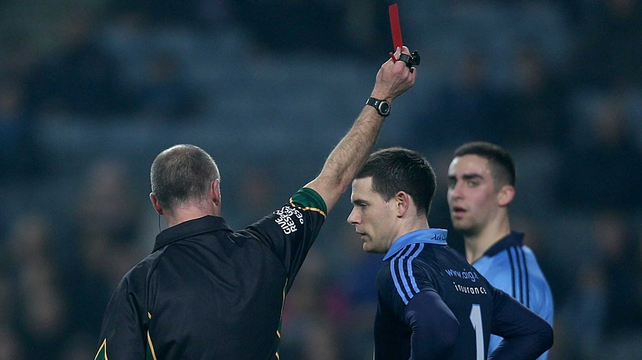 Stephen Cluxton saw red in the 28th minute