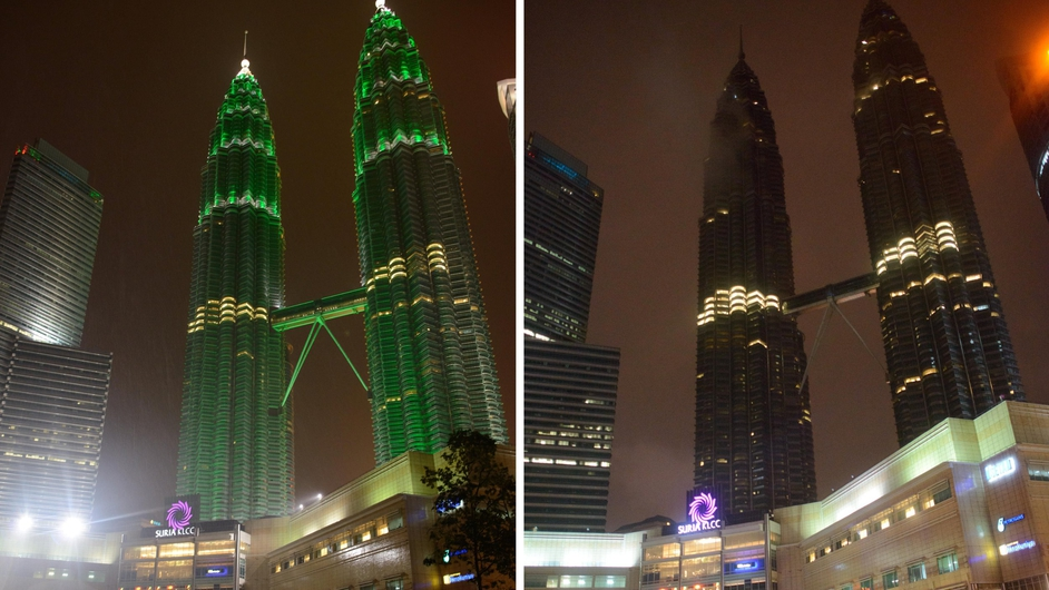 The lights on Kuala Lumpur's Petronas Towers were dimmed for the hour