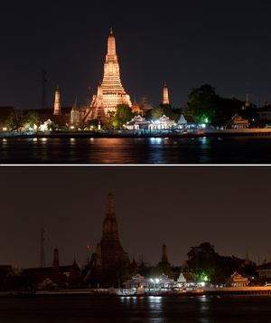 This combination picture shows the Wat Arun Ratchawararam Ratchawaramahawihan Buddhist temple in Bangkok