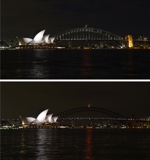 The lights on Sydney Harbour Bridge were switched off for the event