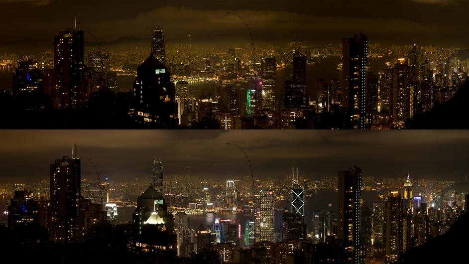 A before-and-after shot of Hong Kong
