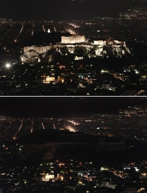 The Acropolis in Athens went dark for the event