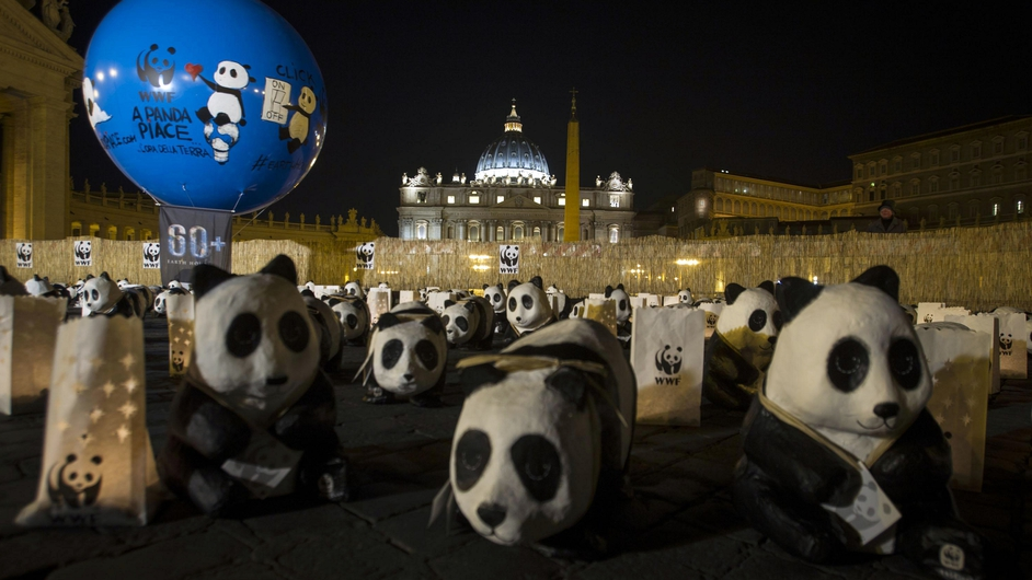 Pandas were left in St Peter's Square in the Vatican as part of the campaign to raise awareness of the dangers of climate change
