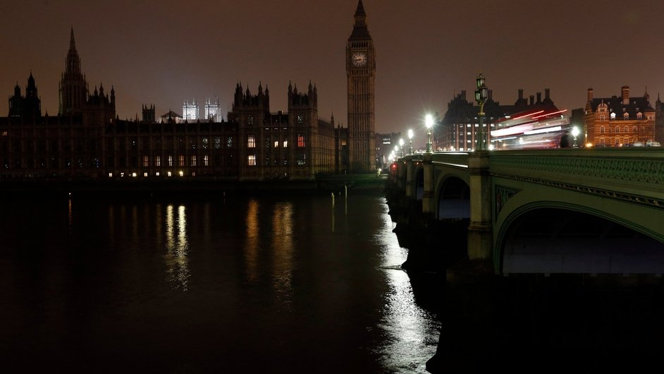 The Houses of Parliament in London went dark between 8.30pm and 9.30pm