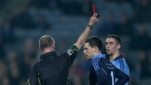 Dublin goalkeeper Stephen Cluxton is sent off by referee Cormac Reilly