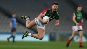 Mayo's Aidan O'Shea feels the effects of a tackle from a player who is out of shot