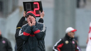 Cork manager Brian Cuthbert reacts near the end of the game with Tyrone