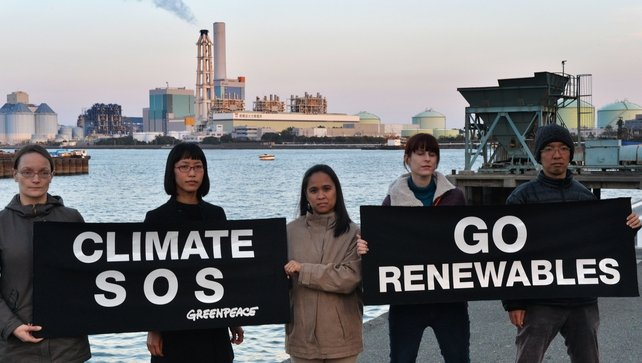 Greenpeace in Yokohama, Japan urged action to combat extreme consequences from climate change
