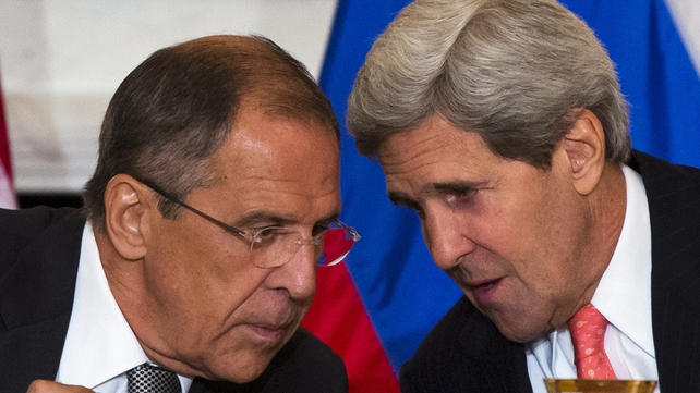 Sergei Lavrov (L) and John Kerry had four hours of talks in Paris over the crisis in Ukraine
