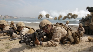 US marines joined South Korean troops in military exercises in Pohang, South Korea