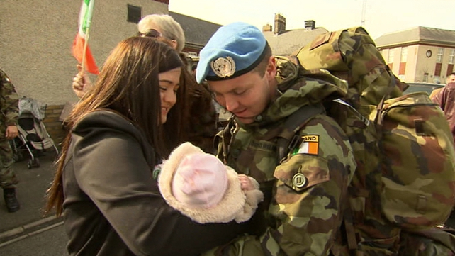 Private Lambe met his new daughter for the first time when he arrived at Casement Aerodrome