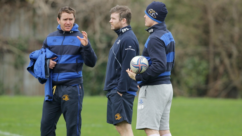 Gordon D'Arcy (centre) with Eoin Reddan (left) and Brian O'Driscoll (right)