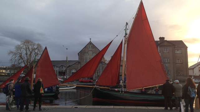 Traditional hookers will be lit up in the Claddagh basin in Galway