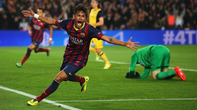 Neymar scoring for Barcelona last night