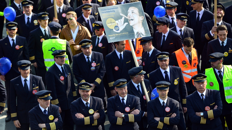 Striking Lufthansa pilots gather to protest at Frankfurt Airport in Germany