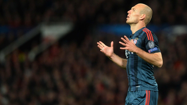 Arjen Robben at Old Trafford last night after a somewhat frustrating 90 minutes for the German champions