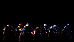 Horses travel around the 400m mark in race seven at Moonee Valley Racecourse, Melbourne, Australia