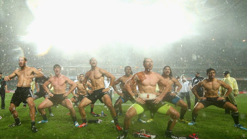 The New Zealand team perform the Haka after winning the 2014 Hong Kong Sevens final against England