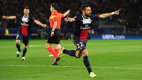 Ezequiel Lavezzi celebrates scoring the game's opening goal