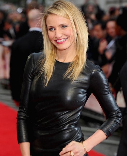 Cameron Diaz in The Row leather dress
