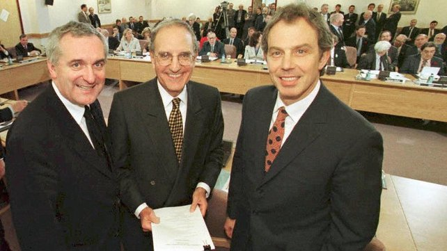 Bertie Ahern, George Mitchell and Tony Blair on 10 April 1998, after signing the Good Friday Agreement