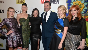 Elizabeth Moss (third from left) with her Mad Men co-stars