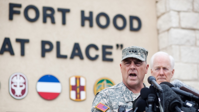 Lieutentant General Mark Milley, Fort Hood commander, speaks to the press about fatal shooting incident