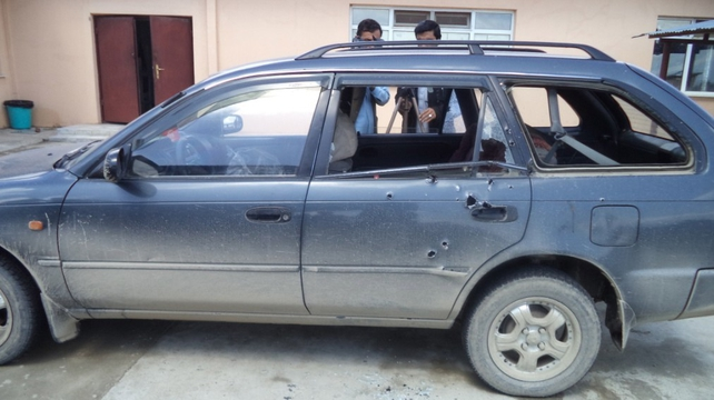 The bullet-ridden vehicle that was transporting the journalists in Khost, Afghanistan