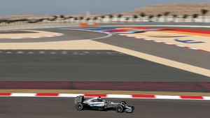 Lewis Hamilton in action today at the Bahrain International Circuit