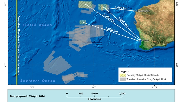 A handout from the Australian Maritime Safety Authority shows the main search areas (Pic: EPA)
