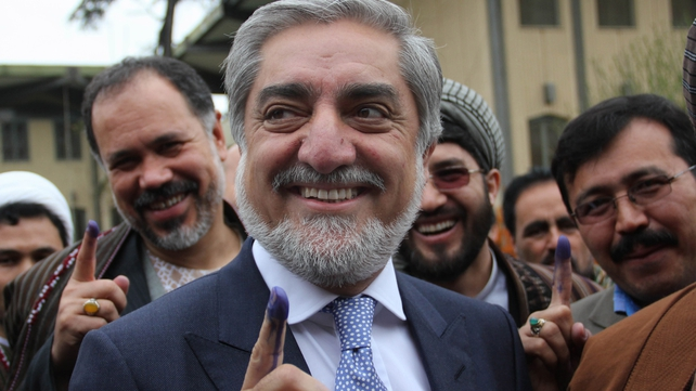 Former foreign minister and presidential candidate Abdullah Abdullah cast his vote this morning (Pic: EPA)