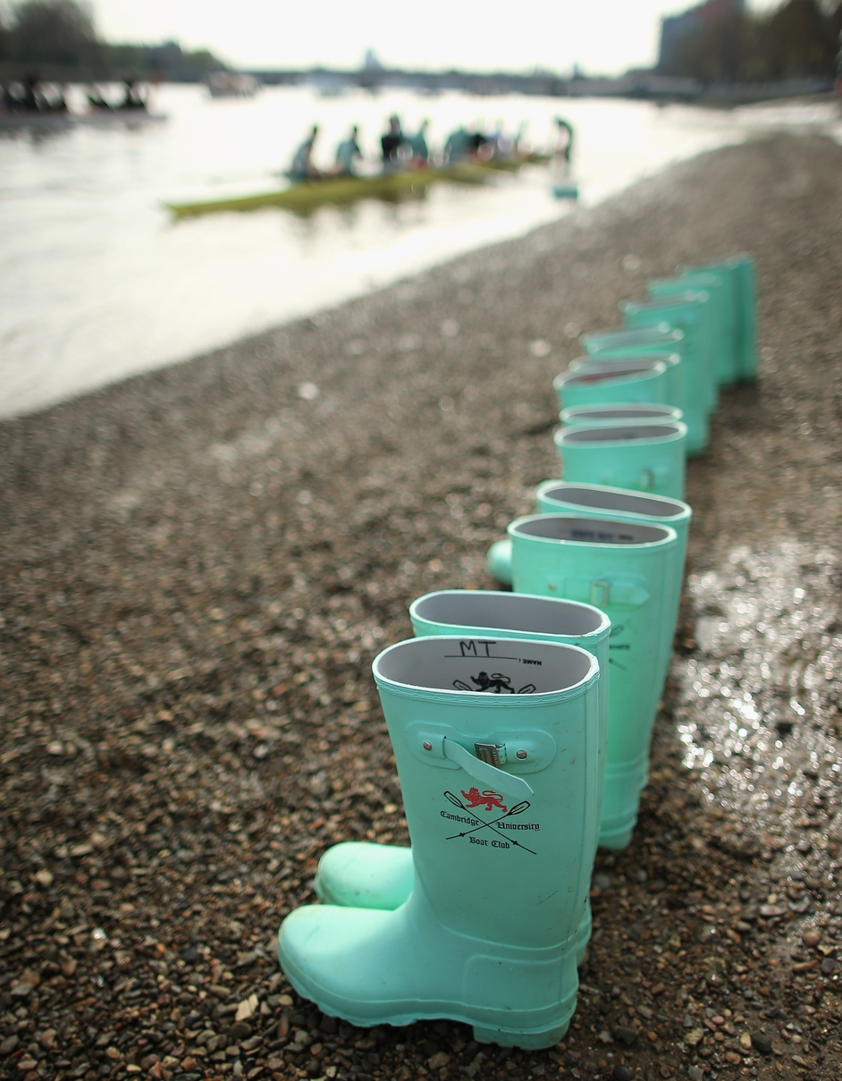 Cambridge crew boots on the shore during an outing on the River Thames ahead of the University Boat Race