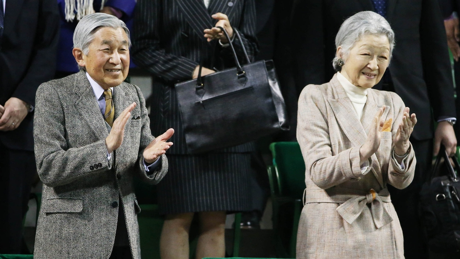 Emperor Akihito and Empress Michiko attend the Davis Cup quarter-final between Japan and the Czech Republic in Tokyo