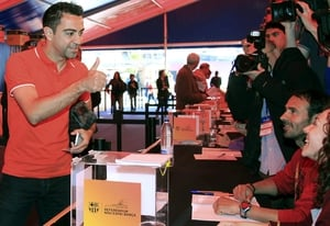 FC Barcelona's soccer player Xavi Hernandez casts his vote in a referendum on the restoration of Camp Nou stadium (Pic: EPA)