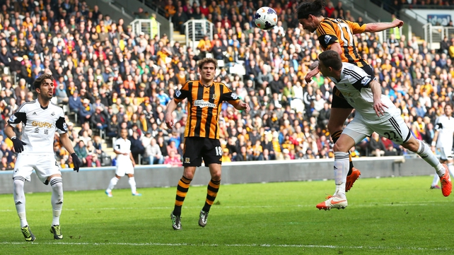 George Boyd heads Hull in front at the KC Stadium