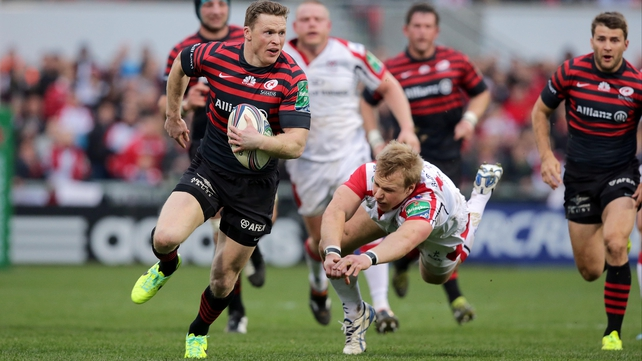 Ulster's Luke Marshall can't halt Saracens' Chris Ashton as he runs in a try