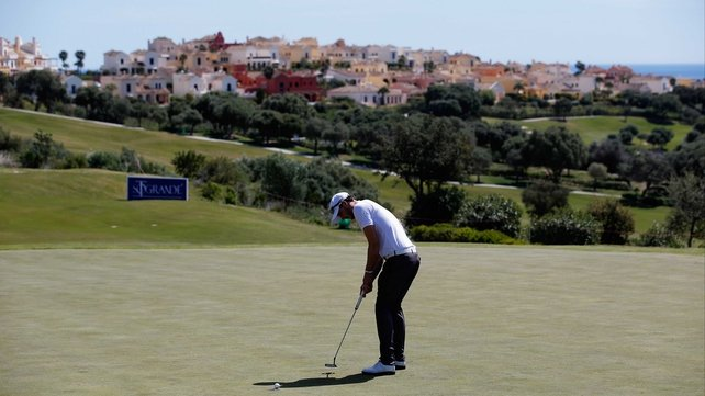 Matthew Nixon makes a tap-in on the first hole at La Reserva de Sotogrande