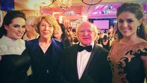 Gráinne Seoige; Sabina Coyne; President Michael D.Higgins and Síle Seoige