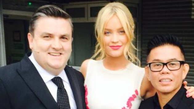 Co-hosts Simon Delaney and Laura Whitmore with hair stylist Michael Leong