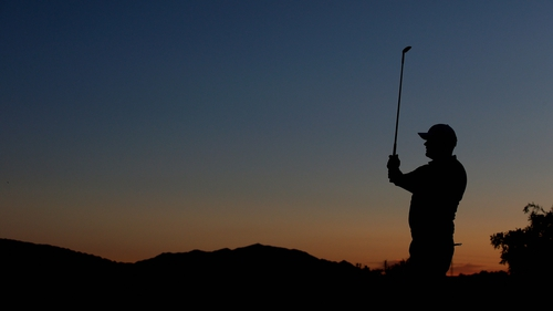 David Drysdale of Scotland practises on the driving range prior to the final round of the NH Collection Open