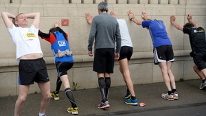 Runners warm up prior to the start of the Zurich Marathon (Pic: EPA)